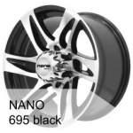 Āzijas diski alumiinivanne NANO 695 Black, 17x8. 5 ET keskireikä 10